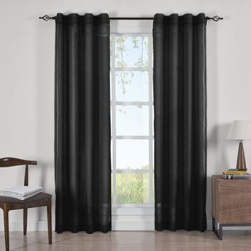 BLACK Abri Grommet Crushed Sheer Curtain Panels (Two Panels )