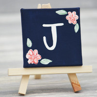 "Mini Canvas and Easel, Navy with White Initial / Personalized Stocking Stuffer / 3"" x 3"" Canvas"