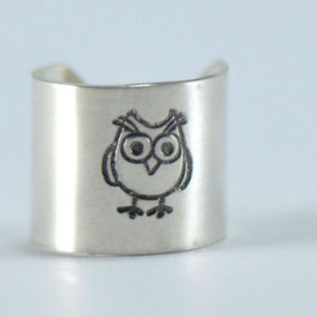 Earcuff Sterling Solid Silver Handstamped Owl