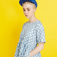 T-Shirt Smock Dress Blue Polka
