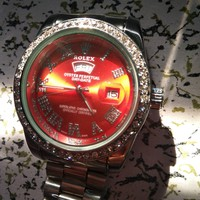 Rolex Trending Women Men Personality Red Dial Watch Shell Diamond Quartz Wrist Watch