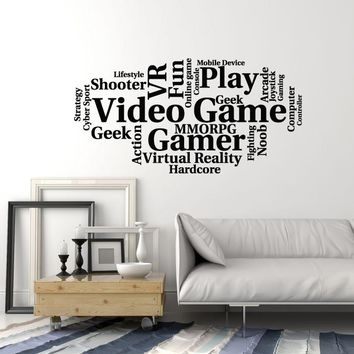 Vinyl Wall Decal Video Games Cloud Words Gamer Room Art Decoration Stickers Mural (ig5401)