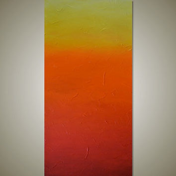 Large Abstract Sunset Painting - Textured Red, Orange, Yellow - Modern Canvas Acrylic Art - Sunset Reflections: 18 x 36 - FREE SHIPPING
