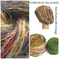 Knit Slouchy Hat Kit Green Boutique Yarn Pattern