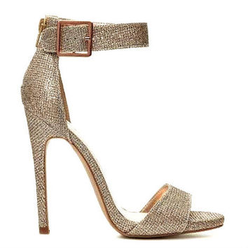 Qupid Glee-77 Glitter Champagne Silver Open toe Sandal Stiletto Heels - Cutesy Originals