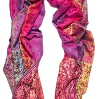 Prism Pashmina with Red Tint and Pink Beading