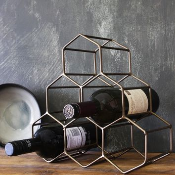 Antique Brass Geo Wine Rack - Home Storage Solutions - Home Accessories