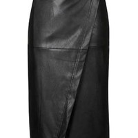 Wrap PU Midi Skirt - Black