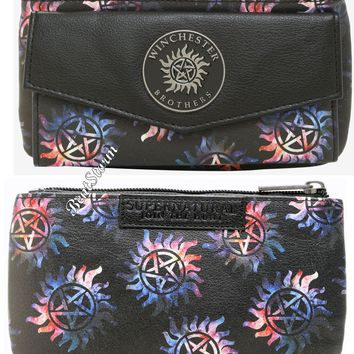 Licensed cool Supernatural Galaxy Anti-Possession Symbols Ladies Flap Wallet Winchester Bros.