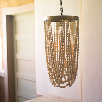 Kalalou Draping Wood Bead Chandelier CLL1338