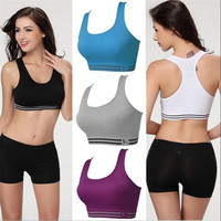 Athletic Sports Bras Stretch Yoga Workout Tank Top Seamless Racerback Fitness = 5660751617