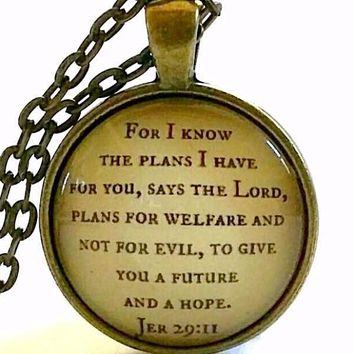 Bible Verse Necklace | For I Know the Plans I Have For You | Scripture Jewelry | Jeremiah 29:11
