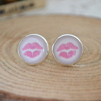 Sexy Lip Earrings,Pink Lip Print stud earrings,Kiss Kissing lips cabochon pendant cuff earrings E48