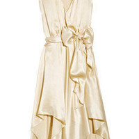 Halston Heritage Draped silk-charmeuse dress - 60% Off Now at THE OUTNET