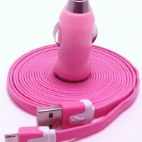 Pink 10ft ( 10 feet 10' ) Tangle Free Noodle Style Micro B USB Charging / Data Sync Cable + USB Car Adapter fits Android Samsung Galaxy HTC LG Pantech Blackberry Motorola Sony ZTE