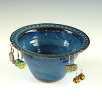 MADE TO ORDER- Not yet made jewelry bowl in Celestial (rich denim) Blue.   Allow 4 weeks for delivery