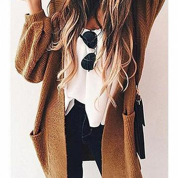 Brown Open Front Pocket Detail Long Sleeve Knit Cardigan