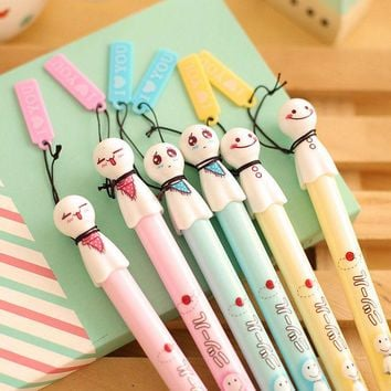DCCKL72 0.38mm Cartoon Candy Color Cute 3D Sunny Doll Girl Black Gel Ink Pen Kawaii Signature Pen Escolar Papelaria School Office Supply