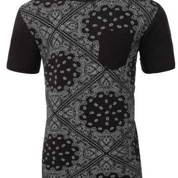 LE3NO Mens Premium Graphic Design Round Neck T Shirt