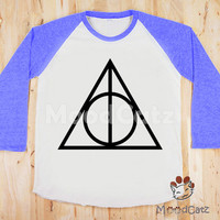 S, M, L -- Deathly Hallows T-Shirt Harry Potter T-Shirt Symbol T-Shirt Women T-Shirt Unisex T-Shirt Raglan Tee Blue Sleeve Baseball T-Shirt
