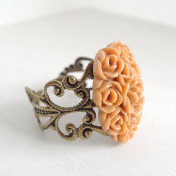 Gold Rose Cameo Ring Golden Bronze Cottage Chic Flower Ring