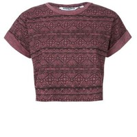 New Look Mobile | Teens Dark Red Aztec Roll Sleeve Crop Top