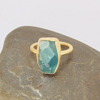 Yellow Gold Plated Ring - Green Fluorite Ring - Gemstone Stack Ring - Stackable Rings - Handmade Ring - Everyday Wear Ring - Fashion Ring