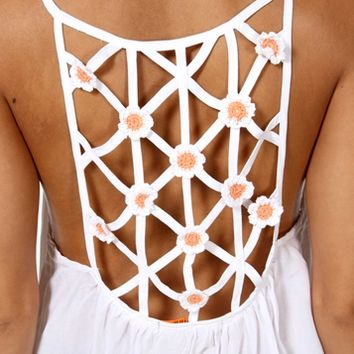 Ivory Crochet Flower Cage Top