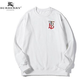 Burberry New fashion bust embroidery letter couple long sleeve sweater White