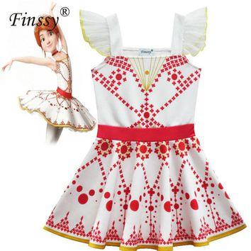 Movie Ballerina Felicie Cosplay Costume for Girls Dress Halloween Costume for Kids Sleeveless Dress