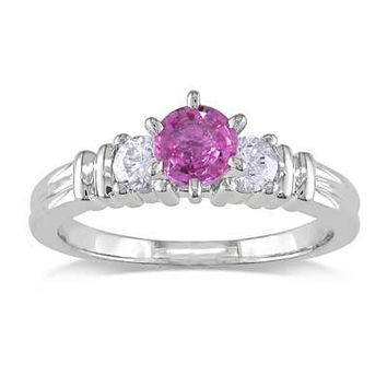 5.0mm Pink Sapphire and 1/4 CT. T.W. Diamond Ring in 14K White Gold - Clearance - Zales