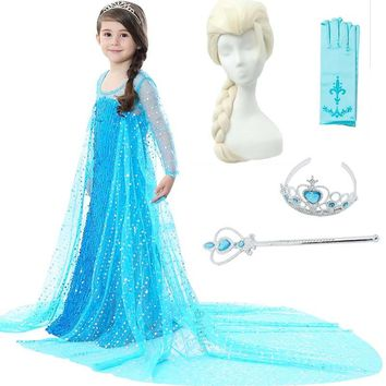 Girls Elsa Costume with Wig Crown Wand for Kids Girls Sow Queen Movie Cosplay Dresses Princess Elsa Dress Sequins Party Dresses