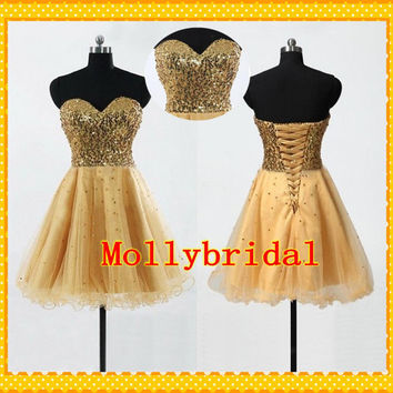 2015 Gold Sweetheart Short Prom Homecoming Dress Sweetheart Beads Sequins Tulle Party Cocktail Dresses Evening Formal Gowns For women Girls
