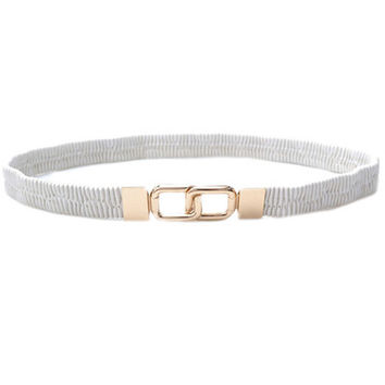 White Metallic Waist Belt