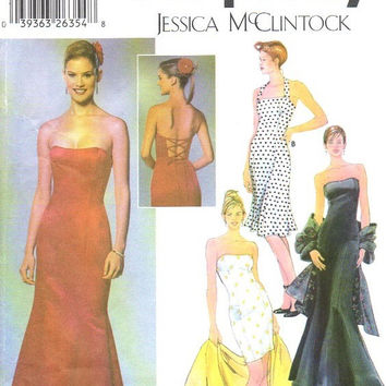 Simplicity 5672 Sewing Pattern Jessica McClintock Evening Gown Cocktail Dress Fitted Bodice Flared Skirt Lace Up Back Bust 40 Plus Size