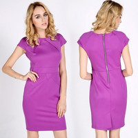 New Sexy Women Ladies New Party Style Purple Offices Business Bodycon Dresses