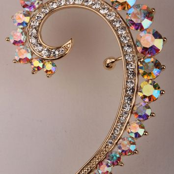 SHIPS FROM USA Left ear wrap cuff clip earrings for women gold & silver color austrian crystal jewelry for women SC44