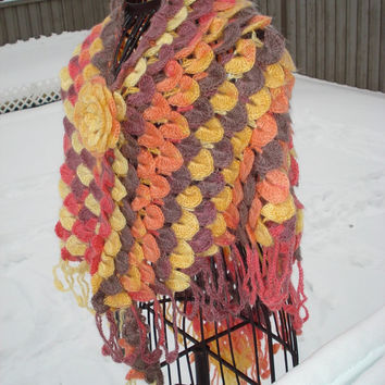 Ready to ship, Crochet Crocodile Stitch Shawl / Shades of Winter Sunset / Neck warmer Wrap/ Cover Up / Bridal Wrap Bridal Accessories