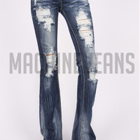 Destroyed Devan Boot Cut Machine Jeans