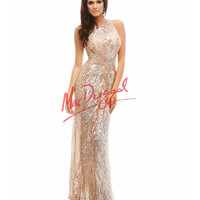 Cassandra Stone by Mac Duggal 4184A Nude & Silver Sequin Floor Length Gown Prom 2015