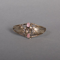 70s STERLING CUFF / Pretty PINK Mother of Pearl Scrolls & Leaves Sw Bracelet