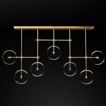 Gold Glass Globe Mobile Linear Chandelier 72""