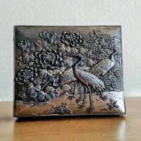 Vintage Japanese | Metal Box | Cranes | Chrysanthemum | Midcentury | Jewelry Box | Trinket Box