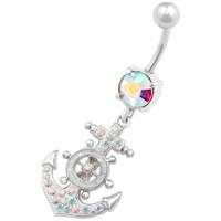 Maritime Bling Anchor Dangle Aurora Borealis Crystal Belly Button Ring For Girls [Gauge: 14G - 1.6mm / Length: 10mm] 316L Surgical Steel & Crystal