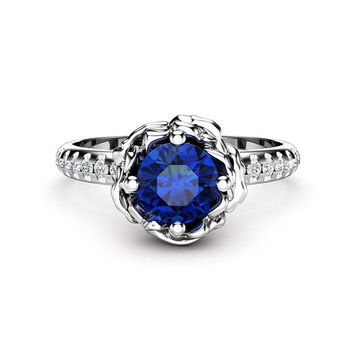 0.50Ct Sapphire Engagement Ring Unique 14K White Gold Ring Flower Engagement Ring September Birthstone