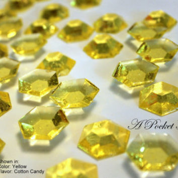 125 Yellow Edible Sugar Jewels Barley Sugar Bite Sized Hard Candy 6.5 oz Cake Decor Cupcake Jewels Candy Buffet
