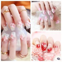 French Pre Design Beautiful 3D False Nails Tips Fake Nail French Nail Art Tips With Free Glue 24Pcs/set