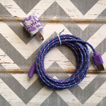New Super Cute Purple Glitter Cheetah Print Designed USB Wall Connector + 10ft Purple Braided iPhone 5/5s/5c Cable Cord