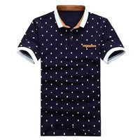 Brand POLO Shirt Men Cotton Fashion Skull Dots Print Camisa Polo Summer Short-sleeve Casual Shirts