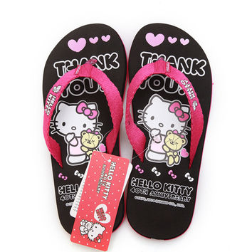 Hello Kitty Cartoon New Women Flip Flops Lovely House Sandals Woman Shoes Hello Kitty  Girls Shoes New 2016